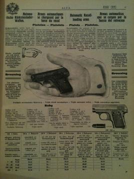 Catalogo dell'epoca sull'arma del delitto Calmette catalogo ALFA del 1911