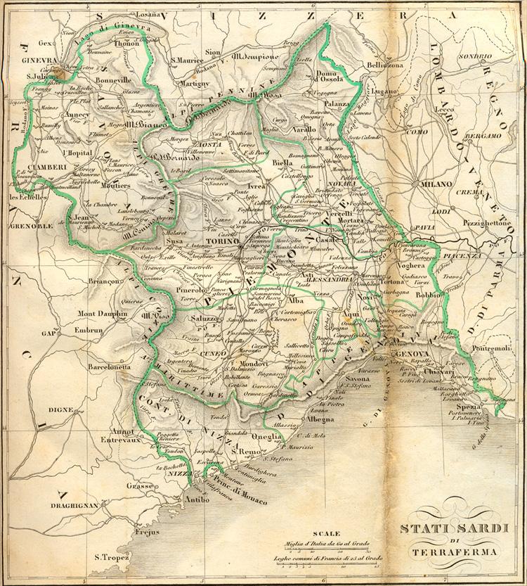 Cartina Del Regno Di Sardegna.Terraferma Stati Sardi Di Dissensi Discordanze